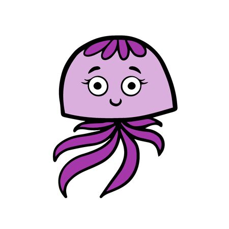 Doodle sketch of a cute octopus on a white background Stock Illustratie