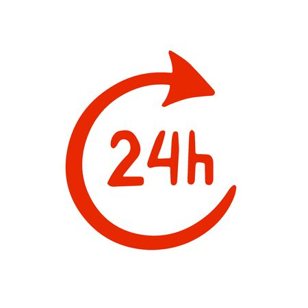 Doodle sketch icon, round-the-clock operation, 24 hours on a white background