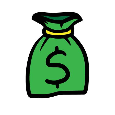 green money bag hand drawn with dollar sign