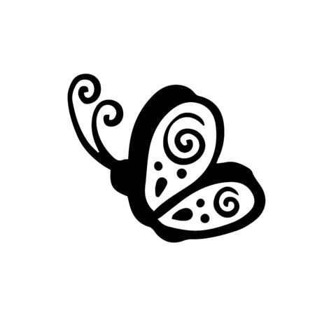 Doodle sketch butterfly on white background 写真素材 - 129899920