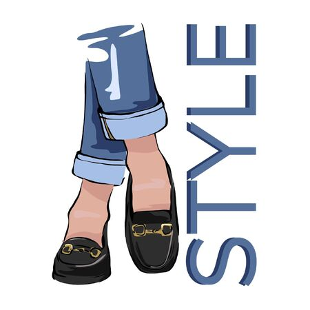 Fashion illustration of female legs in jeans and loafers. Freehand drawing for your advertisement, postcard, blog. Иллюстрация