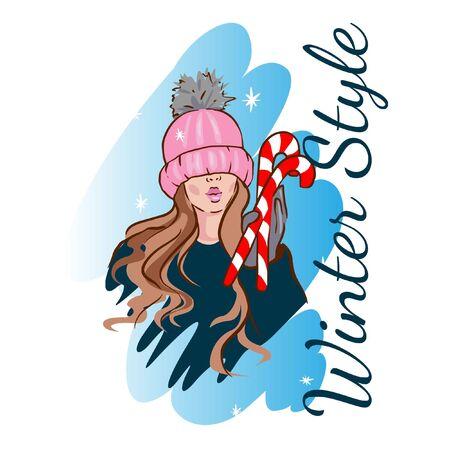 Fashion drawing girl in a winter hat with lollipops, winter illustration for layout, postcard, website Ilustração