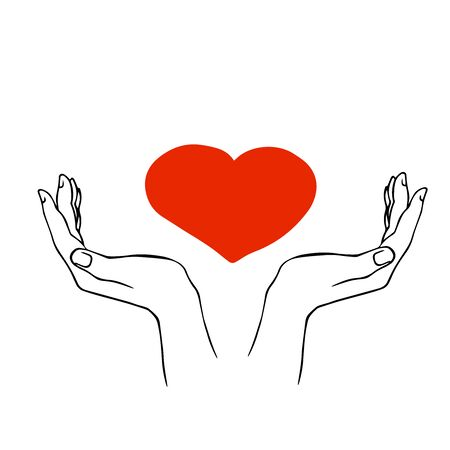 doodle sketch hands hold heart, illustration isolated on white background