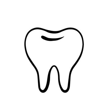 Doodle sketch teeth on a white background, cartoon drawing dental Ilustração
