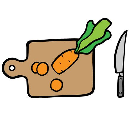 sliced ??carrots on a cutting board and a knife, doodle sketch on a white background Stock Illustratie