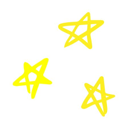 Three doodle stars on a white background. Cartoon drawing
