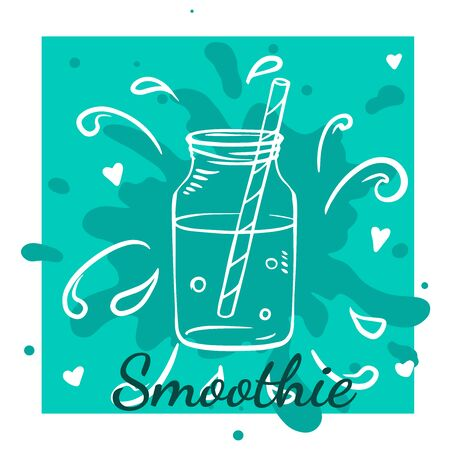 Smoothie or Detox in in glass bottle in sketch style with typography Stok Fotoğraf - 130626622