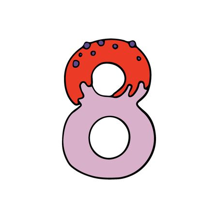 number eight cute illustration with candy