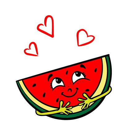 Doodle sketch of a happy watermelon drawing for your layout, advertising, website.