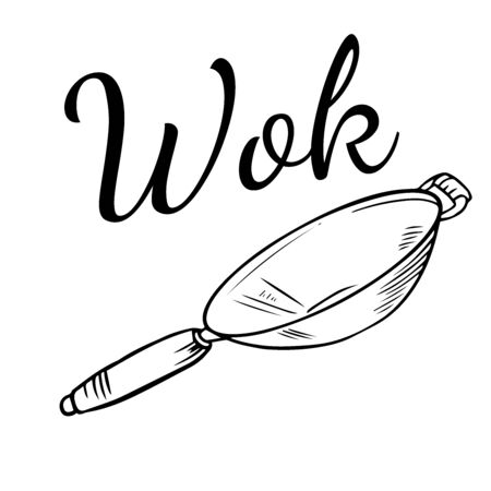 Doodle sketch wok pan on white background Stock Illustratie