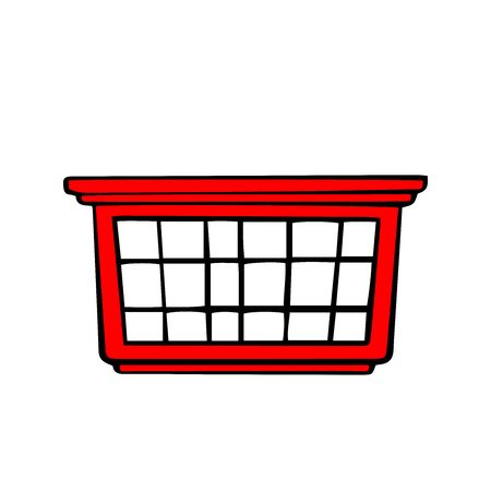 doodle sketch red laundry basket on white background