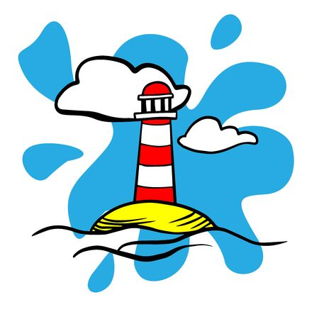 Doodle sketch lighthouse on the island, cartoon colored drawing on a white background
