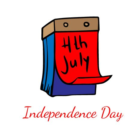 calendar with a page for july 4, cartoon drawing for independence day Stock Illustratie