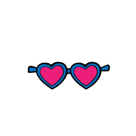 Doodle sketch hearts sunglasses, cartoon illustration isolated on white background Stock Illustratie