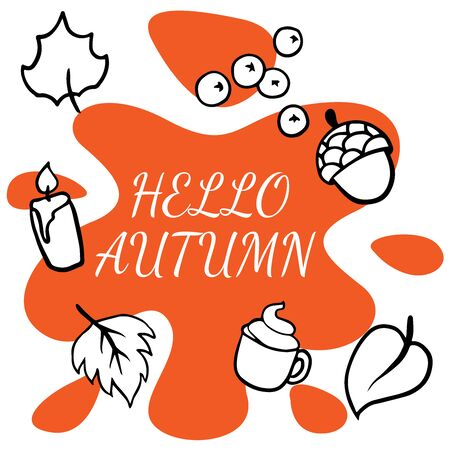 doodle sketch autumn items on a white background Illustration