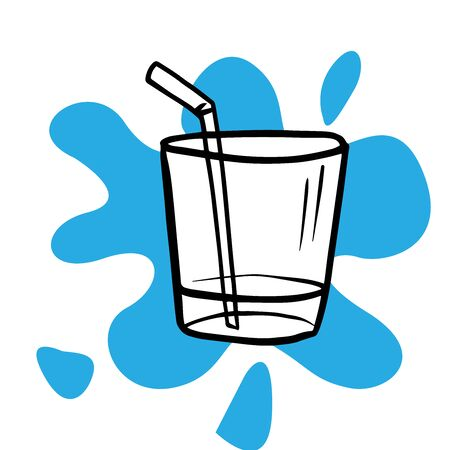 Doodle sketch glass of water with a straw on a white background Stock Illustratie