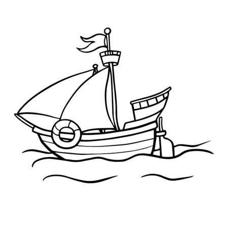 Wooden cartoon ship. Vector illustration