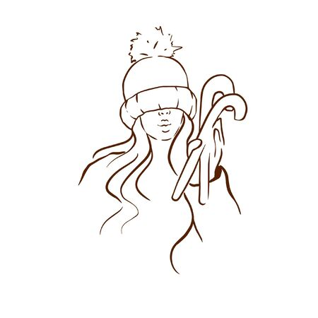 Doodle sketch girl in winter hat with lollipops, fashion illustration on a white background.