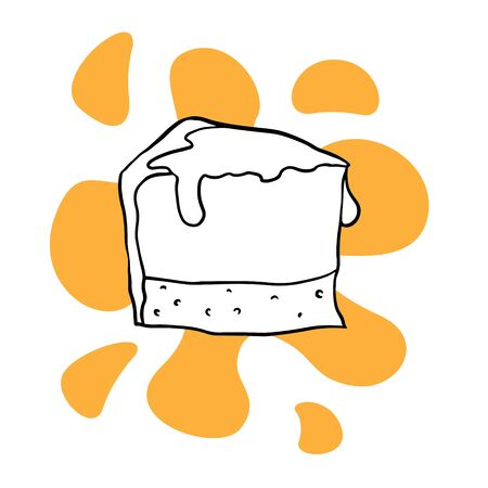 doodle sketch of a piece of cheesecake on a white background, illustration of sweets