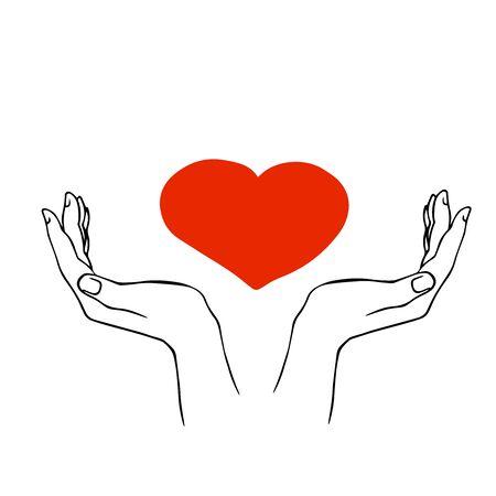 doodle sketch hands hold heart, illustration isolated on white background Векторная Иллюстрация