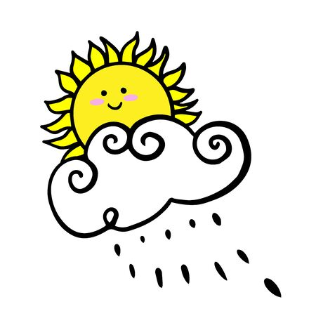 Doodle sketch sun hiding behind a cloud, cartoon drawings on a white background Illustration