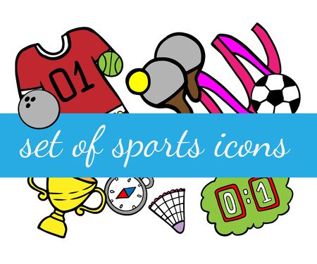 Doodle set of sport icons on a white background Stock Illustratie