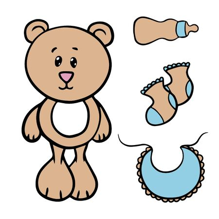 Doodle sketch toy bear, socks and bottle, illustration on a white background for your postcard, layout, site.