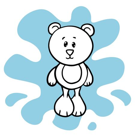 Doodle sketch bear toy, cartoon drawing toys, illustration on white background