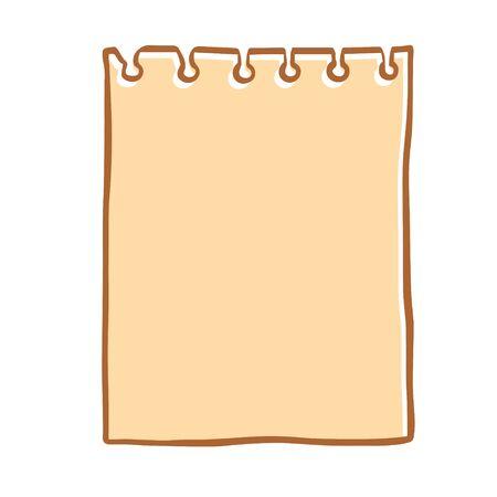 Feuille de croquis de Doodle déchirée d'un cahier, illustration sur fond blanc.