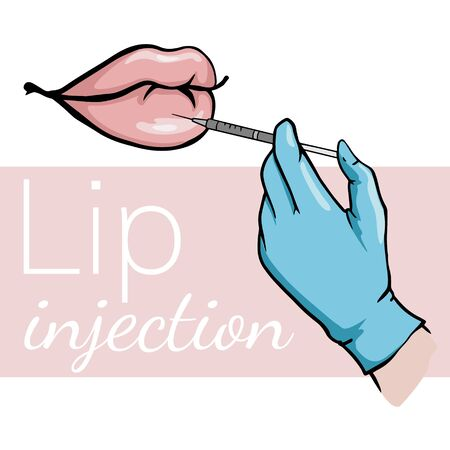 Cosmetic injection to the lip. Beautiful, puffy lips. Plastic, aesthetic cosmetology. Illustration of spa treatments. Doodle sketch of a medical procedure. Archivio Fotografico - 133192702