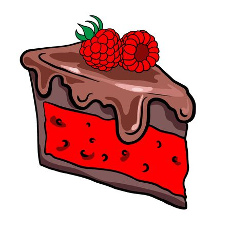 Hand drawn piece of chocolate cake with raspberry, illustration of sweets on a white background, doodle, sketch.