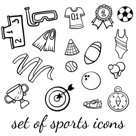 Doodle set of sport icons on a white background Ilustracja
