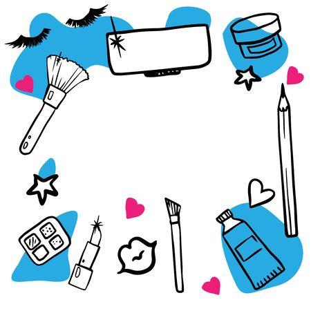 set of female cosmetics doodle illustration