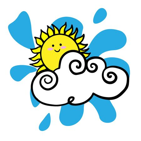 Doodle sketch sun hiding behind a cloud, cartoon drawings on a white background