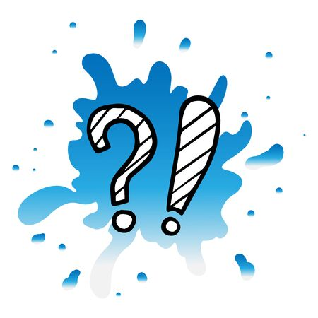 doodle sketch question and exclamation mark on a white background, cartoon drawings of characters on a white background
