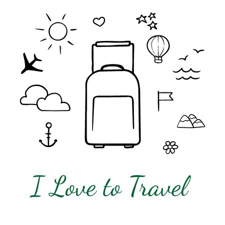 Doodle sketch suitcase and travel icons on white background