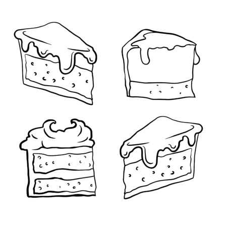 doodle sketch of a piece of cheesecake on a white background