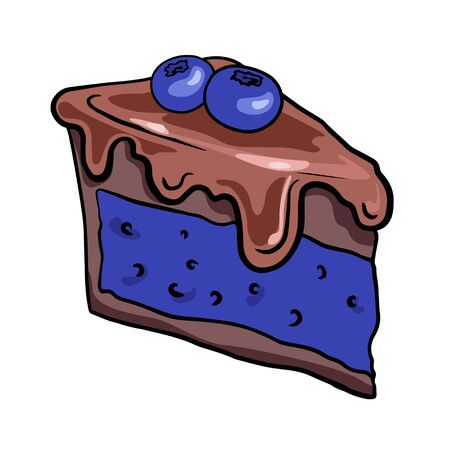 Hand drawn piece of chocolate cake with blueberries, illustration of sweets, doodle, sketch.