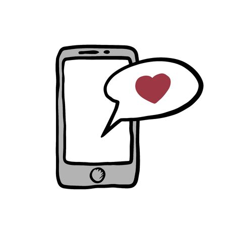 Smartphone with heart in a sms speech bubble, mobile phone and love sms message. Doodle illustration