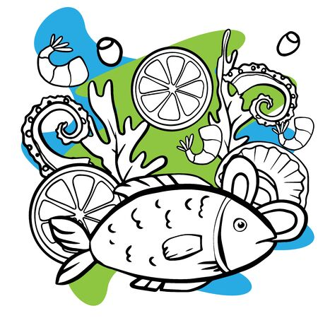 Vector illustrations of an octopus, scad fish, sea bream. Seafood products info graphic suitable for restaurant menu etc.