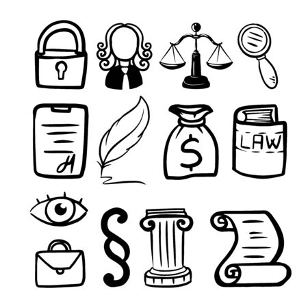 Symbol of law and justice. Conceptual law and justice. Scales of justice, a judge, a pen, a paper roll. Vector illustration doodle