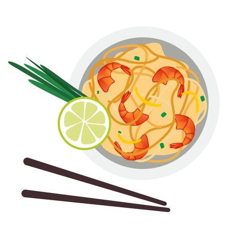 Pad Thai or Stir Fried Noodles with Prawns on Chalkboard. Thai Cuisine, Pad Thai or Thai Stir Fried Noodles with Prawns on Chalkboard. One of The Most Popular