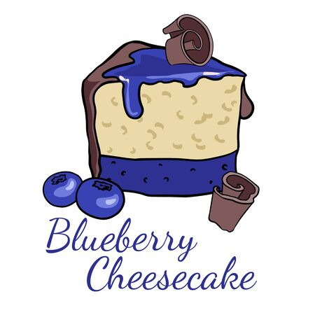 Doodle sketch, hand drawing a piece of blueberries cheesecake, illustration of sweets on a white background