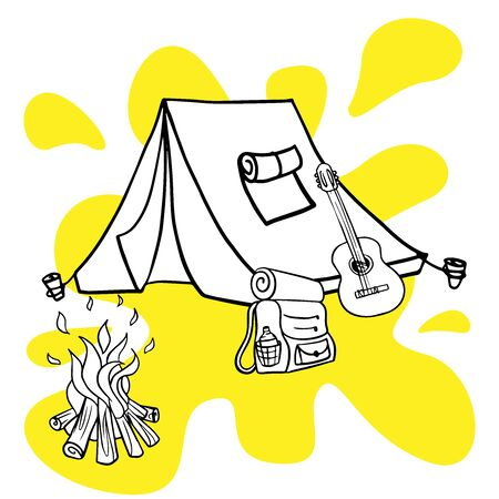 doodle sketch camping, rest with a tent in the forest, cartoon illustration on a white background. Stock Illustratie