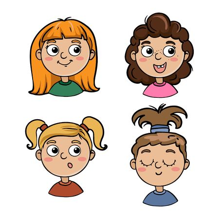 Collection of portraits of children in cartoon style. Cute characters kids girls
