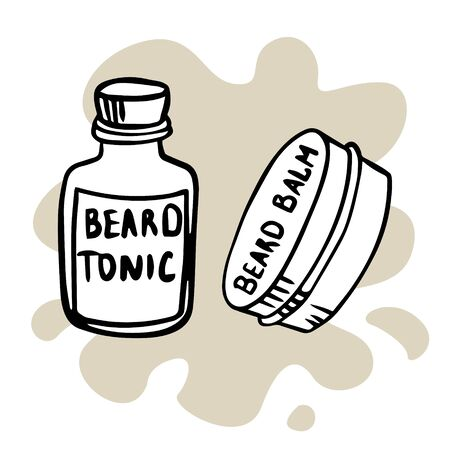 Doodle sketch tonic and beard wax. Simple, flat illustration
