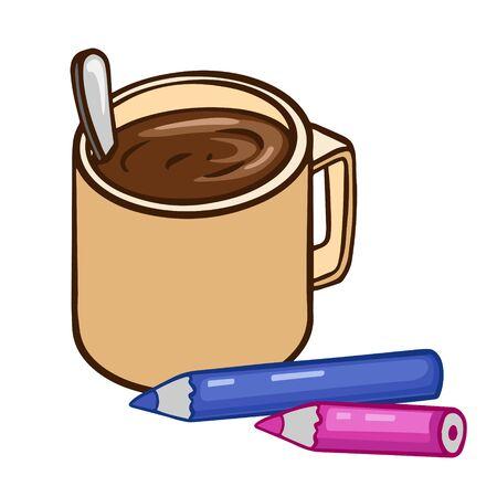 Doodle sketch tea or coffee mug with pencils. Simple, flat illustration