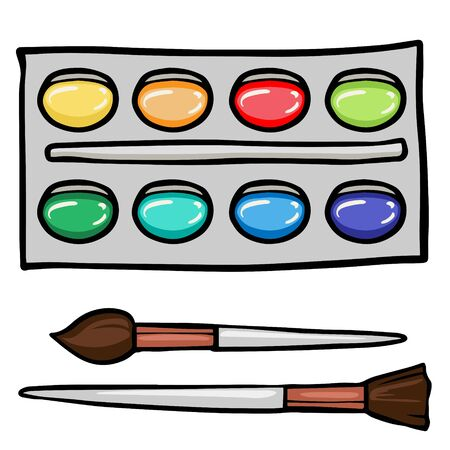 Doodle sketch watercolor paints with brushes. Cartoon illustration