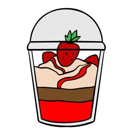 Doodle sketch eco dessert in a glass, Homemade Organic Fresh Fruit Parfait. Vegan Dessert Illustration Illusztráció