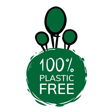 100 % Plastic free sign stamp. Eco product round green mark, label, emblem, sticker design on white background